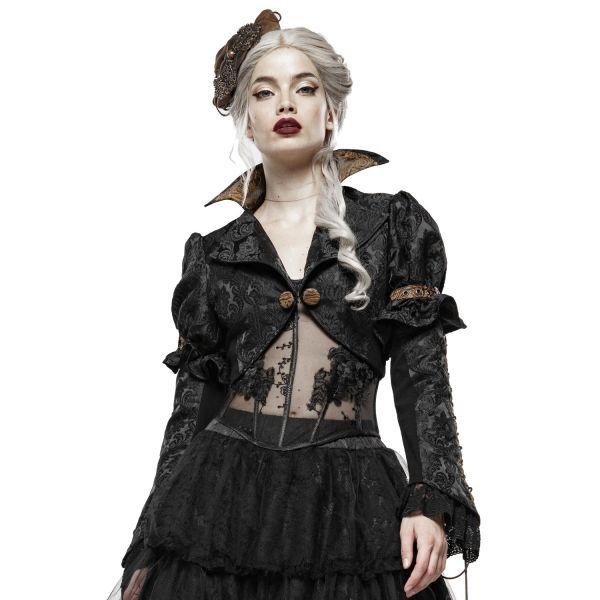Steampunk Bolero mit Vampirkragen im Jacquard Design