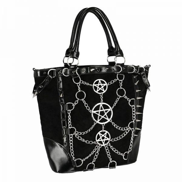 Crossover Shopper mit Ketten Harness und Pentagrammen