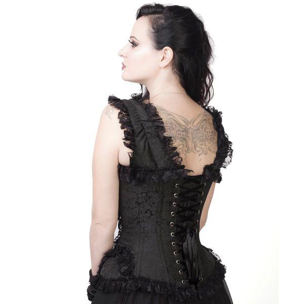 Schwarzes Rüschenkorsett in viktorianischem Brokat-Look