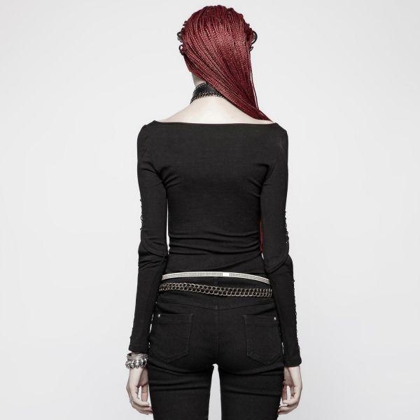 Gothic Shirt mit geschnürten Ärmeln im Bondage Look
