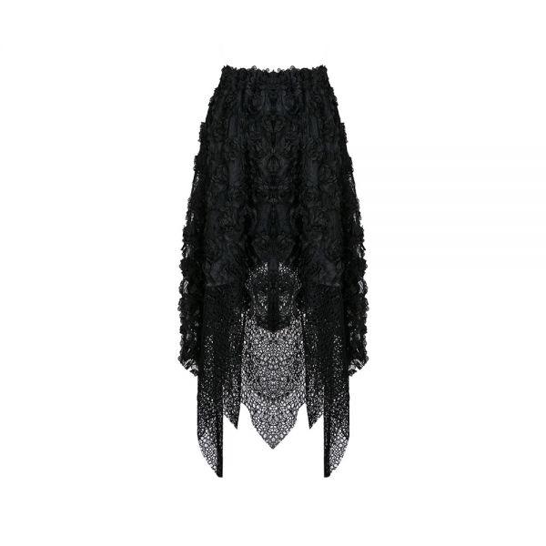 Dark Romantic Zipfelrock mit Netz und Schnürungen