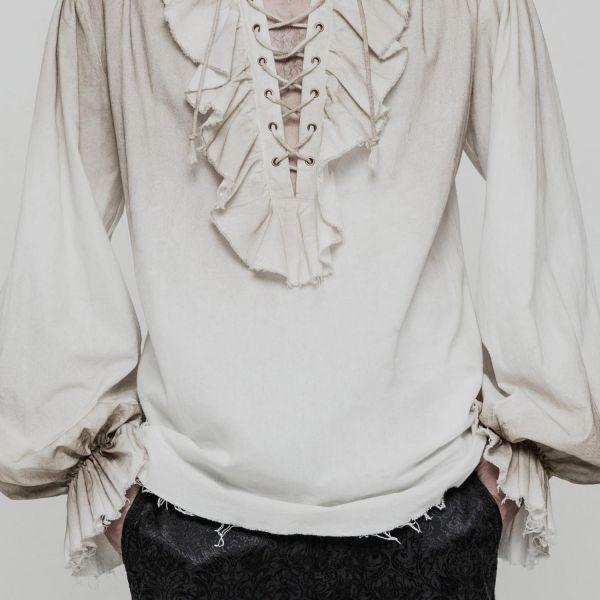 Ombre-Look Rüschenhemd mit Schnürung und Ballonärmeln