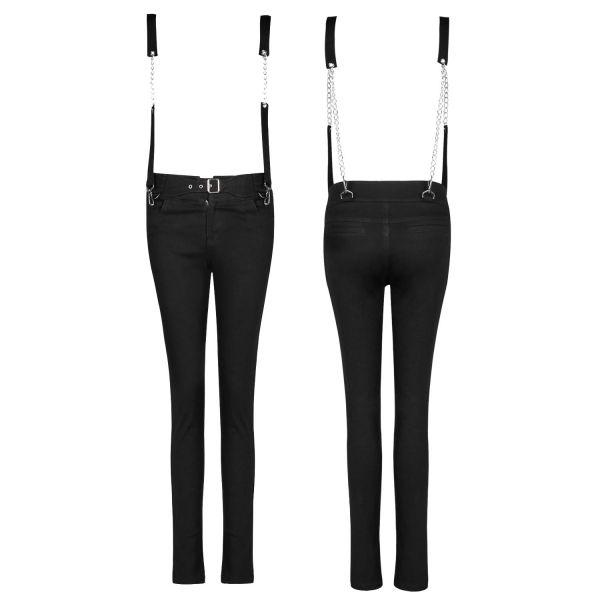 High Waist Skinny Jeans mit Bondage Hosenträger