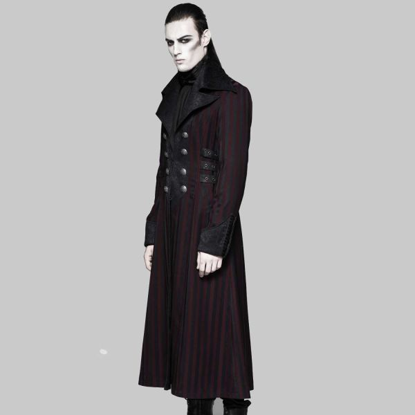 Mantel mit Reverskragen Aristokraten Look schwarz-rot