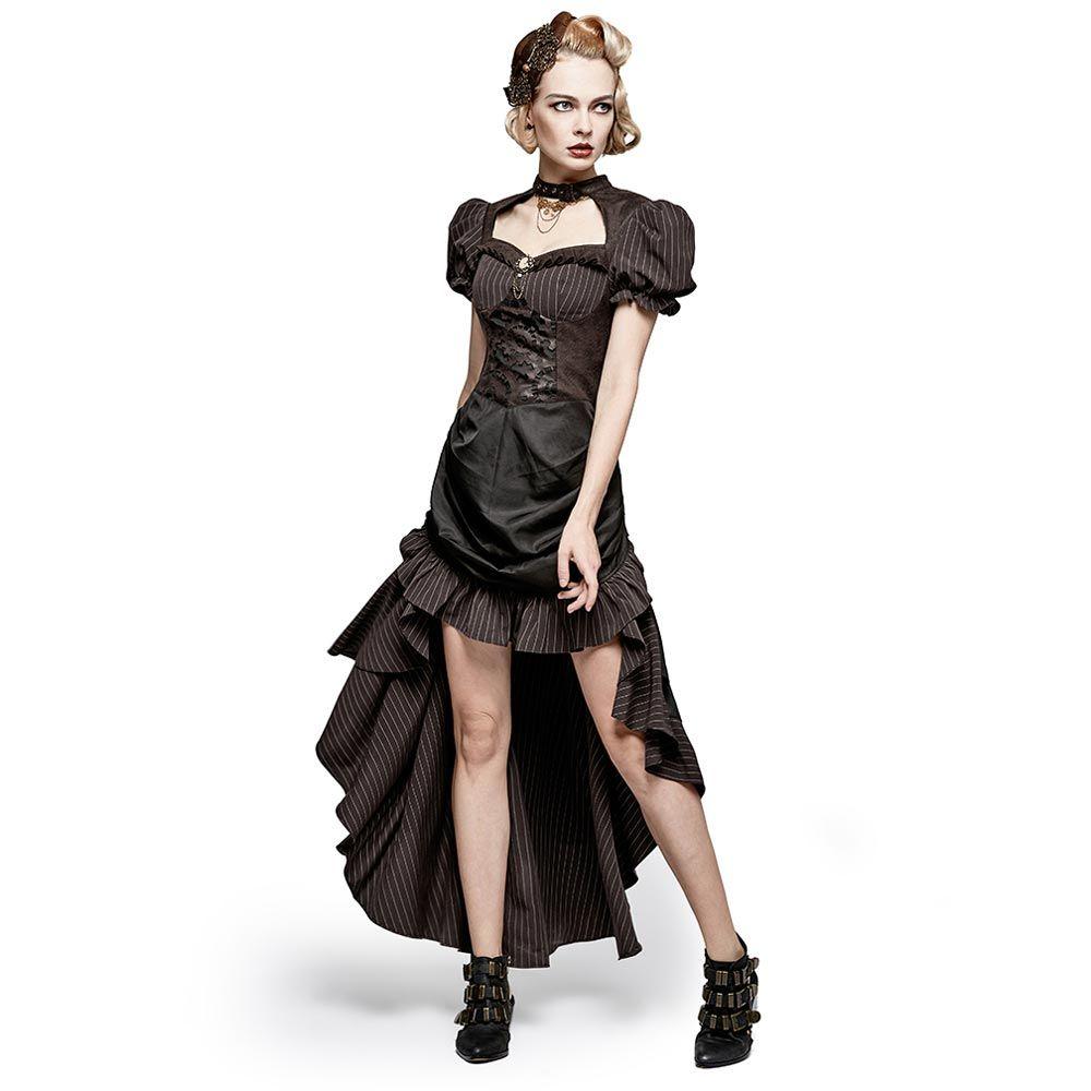 Steampunk Nadelstreifen Kleid mit Puffärmeln Vokuhila  VOODOOMANIACS