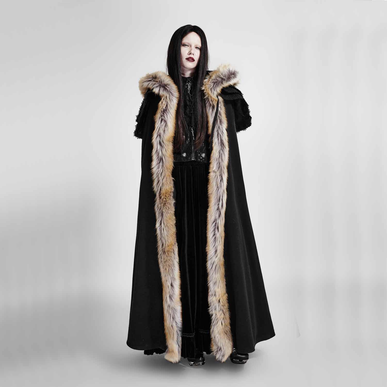 Langer schwarzer mantel mit kapuze