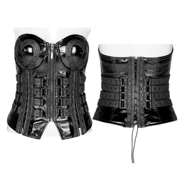 Fetisch Korsett im Lack und Leder Metal Style