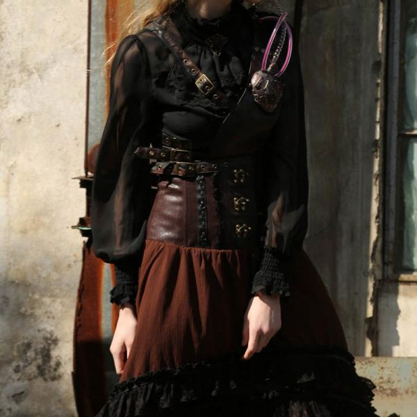 Steampunk Vokuhila Rock mit High Waist Bund