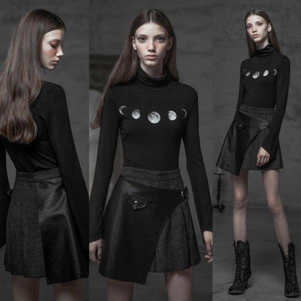 Asymmetrisches Rollkragen Shirt mit Mondphasen Print