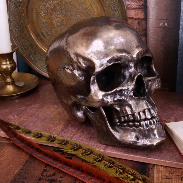Totenschädel im Bronze-Look mit beweglichem Kiefer