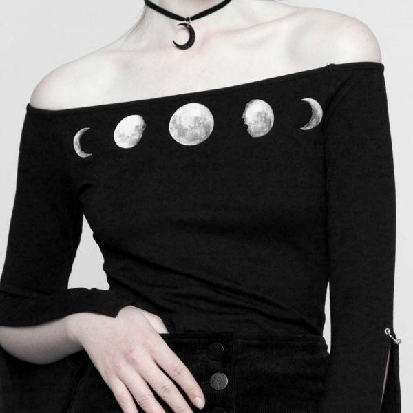 Carmen Shirt mit Mondphasen Print und Schlitz-Ärmeln