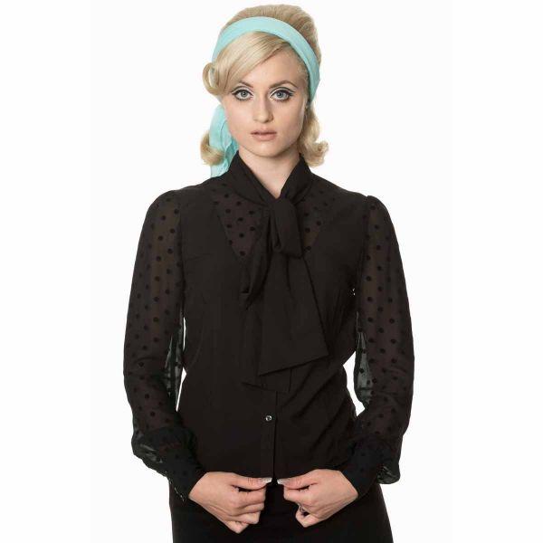 Schwarze Bluse im Retro Look mit gepunkteten Tüllärmeln