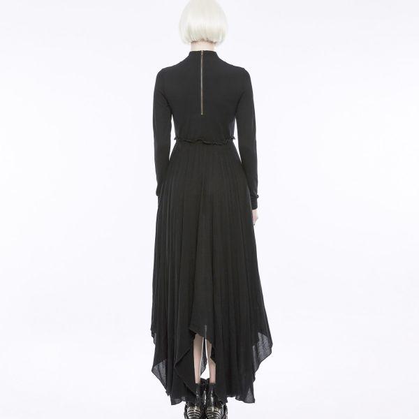 Daily Goth Kleid mit Stehkragen im Mystik Retro Look