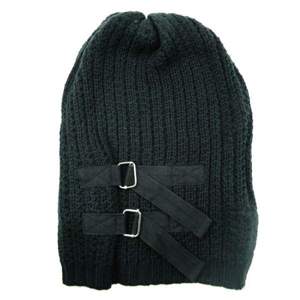 Schwarze Strick Mütze mit Schnallen Beanie Style
