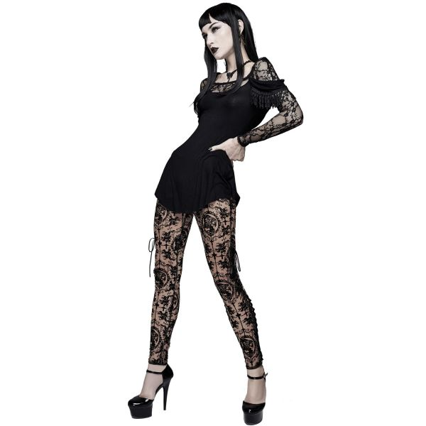 Tattoo-Look Netz Leggings im Nude Cameo Style