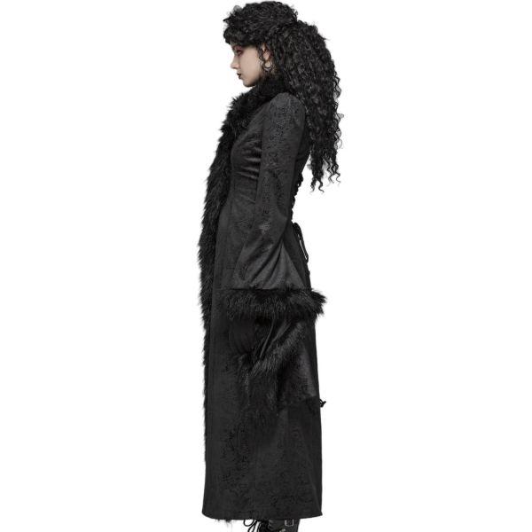 Mantel im Brokat-Look mit Kunstfell und Trompetenärmel