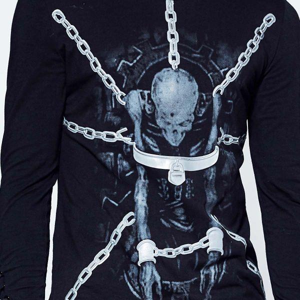 Longsleeve mit Skelett Print und Schnürungen