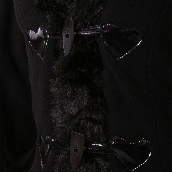 Gothic Lolita Wintermantel mit Kapuze und Kunstfell
