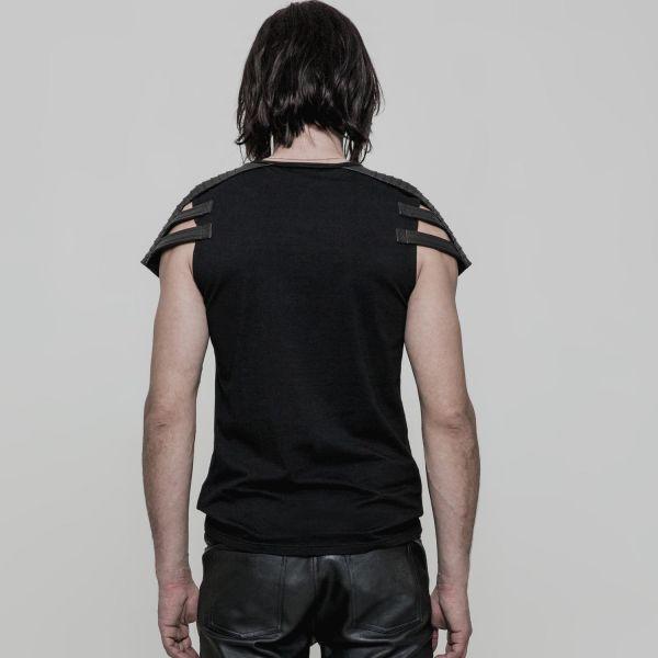 Gothic Style T-Shirt im Schulterpanzer Warrior Look