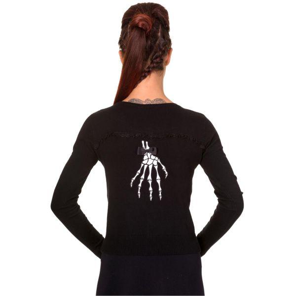 Schwarzer Strick Cardigan mit Skeletthänden und Spitze