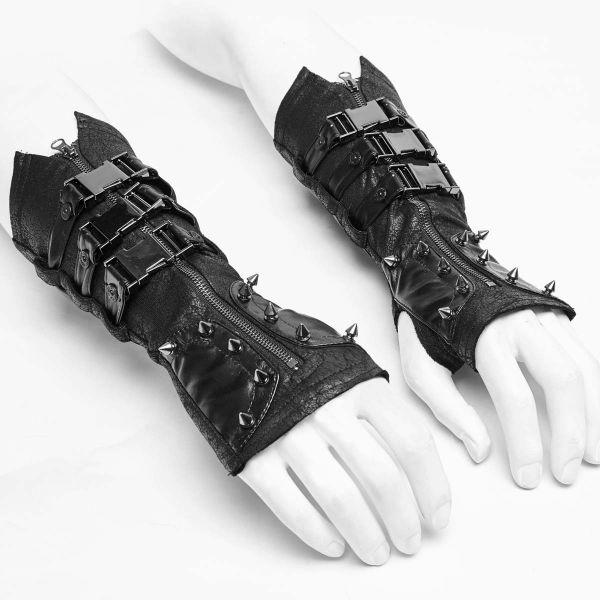 Industrial Goth Armstulpen in Lederoptik mit Nieten