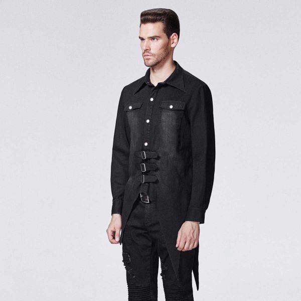 Vintage Langarm Hemd im Zipfel Look mit Schnallen