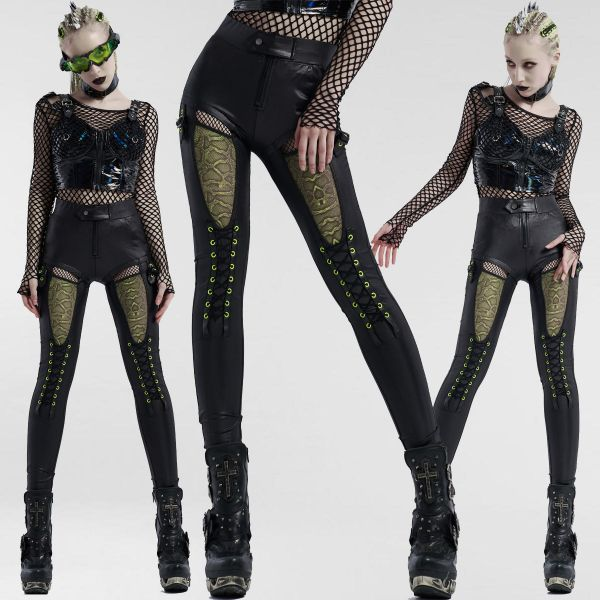 Leder-Look Cyber Goth Jeggings im Hotpants Straps Look