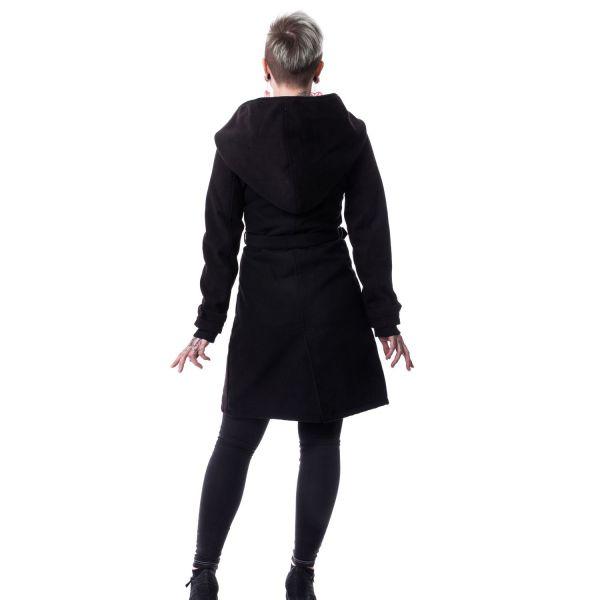 Schwarzer Mantel mit grosser Kapuze im Trenchcoat Look