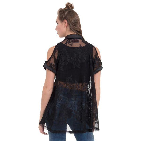 Gothic Style Cold-Shoulder Bluse aus schwarzer Spitze