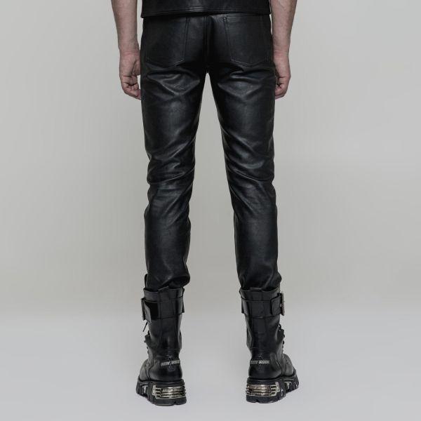 Gothic Style Slim Fit Kunstleder Hose