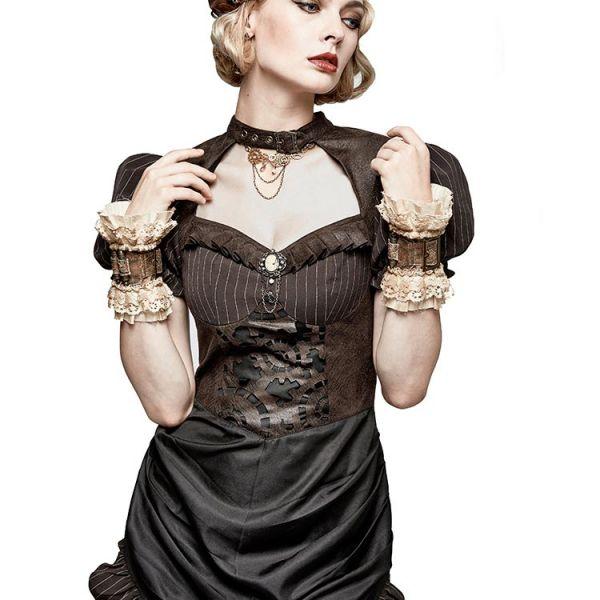 Steampunk Nadelstreifen Kleid mit Puffärmeln Vokuhila