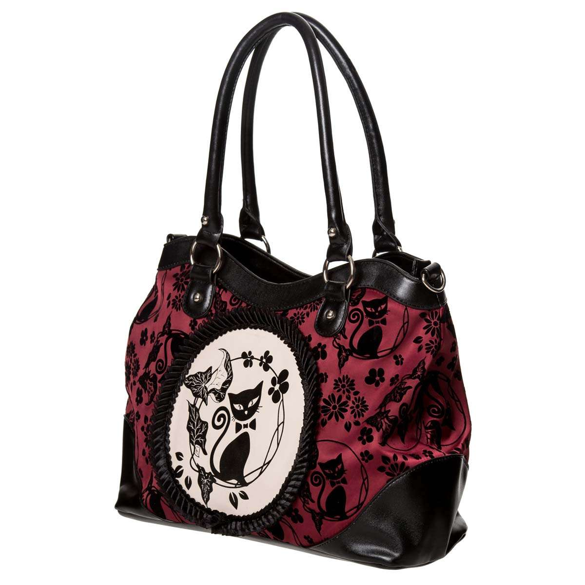 Cameo Lolita Schwarz Bordeaux Cat Gothic Handtasche TK3ulFc51J