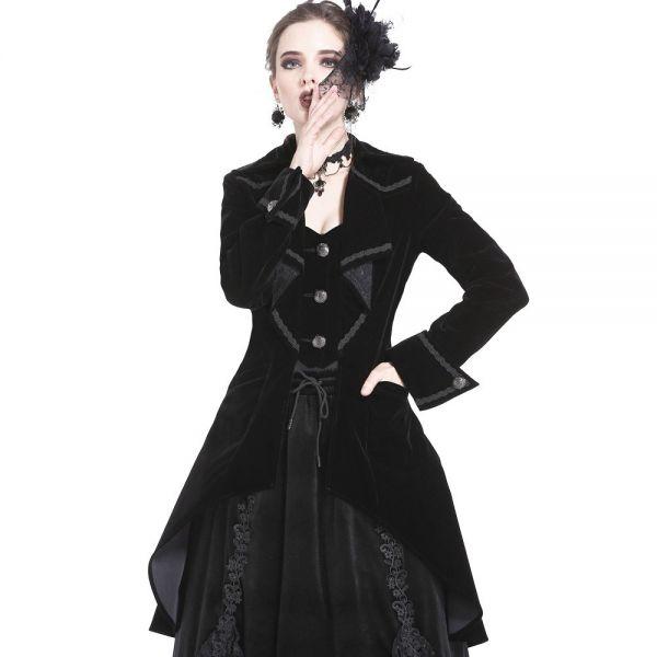 Viktorianischer Samt Mantel mit Rüschenvolant
