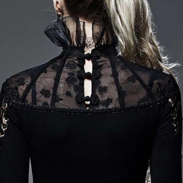 Dark Romantic Shirt mit Stehkragen und Trompetenärmeln