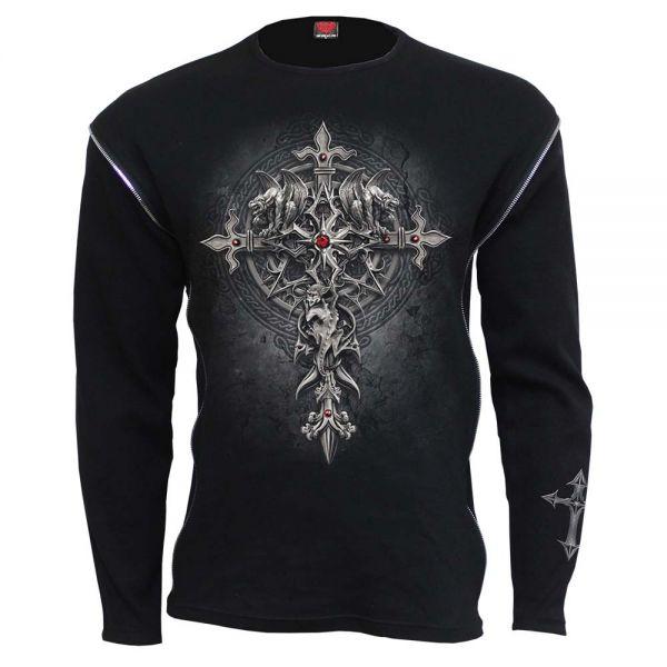 Langarm Shirt mit Zipper und Aufdruck - Custodian