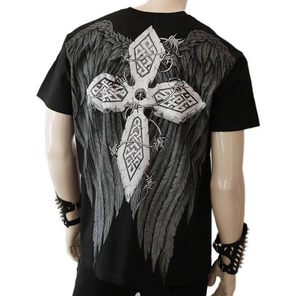 Gothic T-Shirt mit Höllenengel und Flügel Print