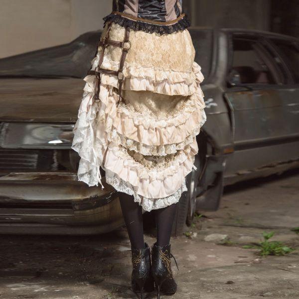 Vokuhila Rüschenrock mit Tasche im Steampunk Style