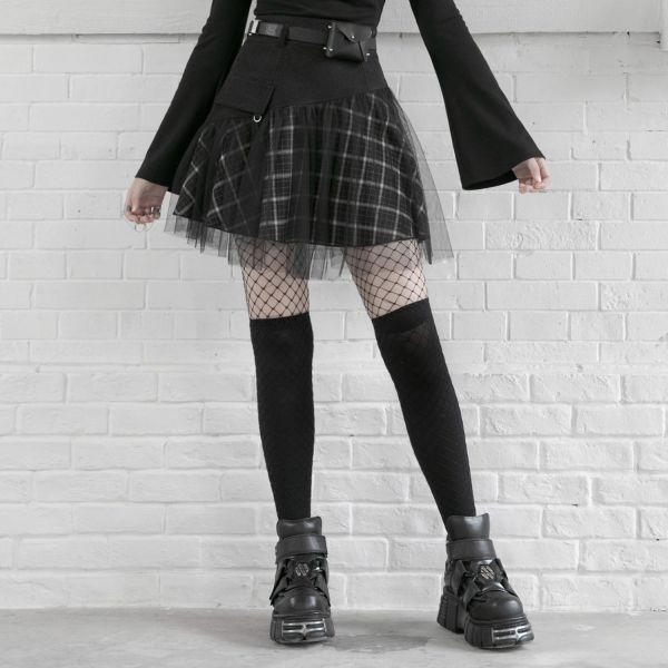 Punk Mini im Karo-Look mit Netz Überrock