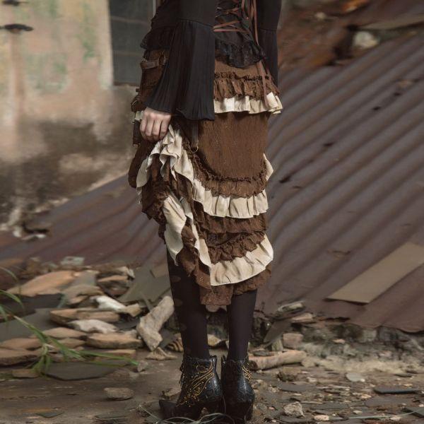 Raffbarer Steampunk Vokuhila Rüschenrock mit Tasche