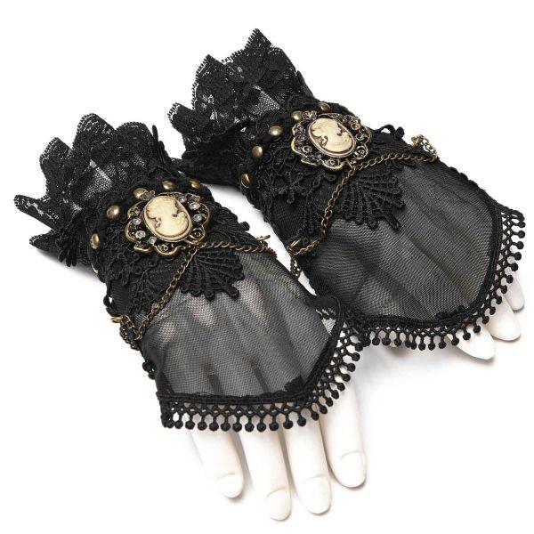 Steampunk Handschuhe mit Kamee Relief und Häkelspitze