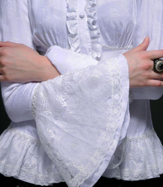 Bluse weiss in viktorianischem Look mit Trompetenärmeln