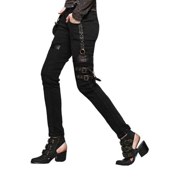 Steampunk Skinny Jeans mit Schnallen und Tasche