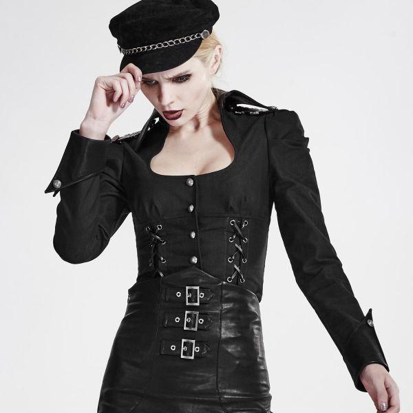 Uniform Bluse mit Schnürungen und tiefem Ausschnitt