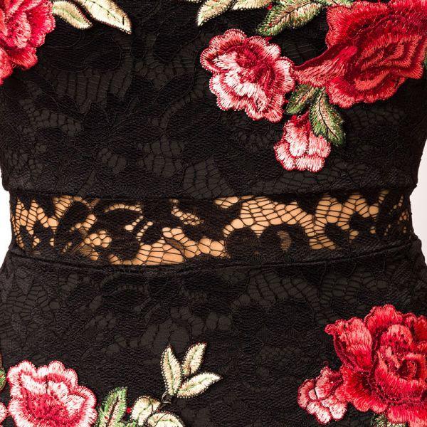 Vokuhila Spitzenkleid mit Rosen Stickerei und Halsband