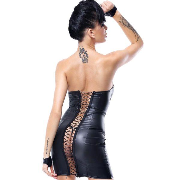 Bandeau Wetlook Minikleid mit sexy Rückenschnürung