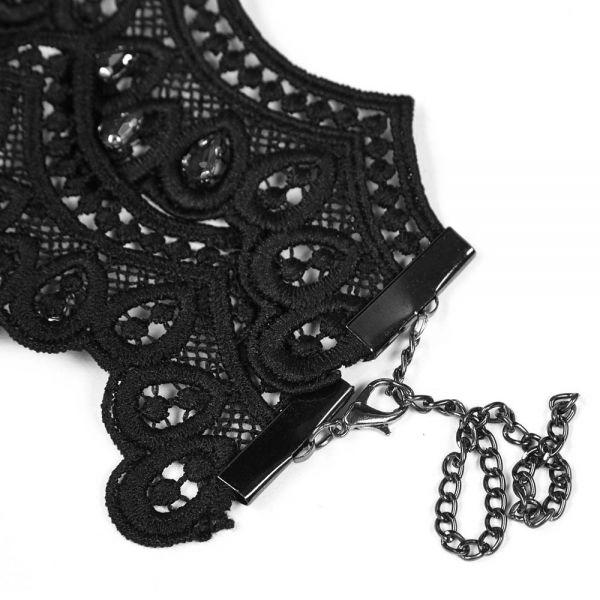 Gothic Collier aus Häkelspitze mit blutroten Steinen