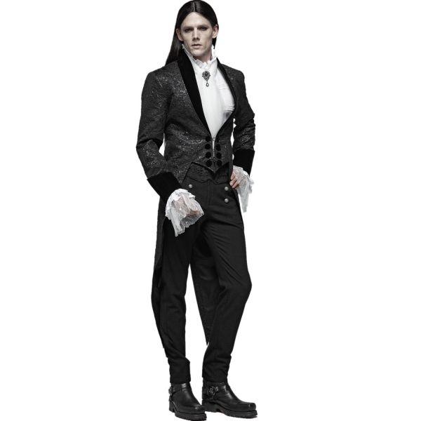 Dunkler Graf Hose mit Brokatmuster im Uniform Look