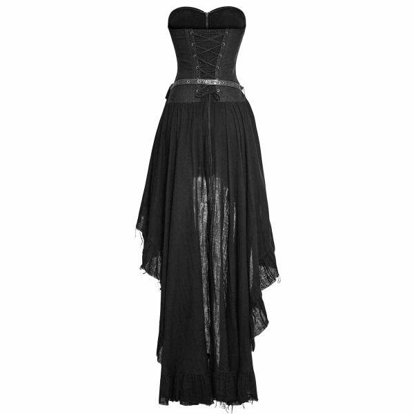 Corsagen Vokuhila Kleid im Gothic Vintage Look mit Tasche