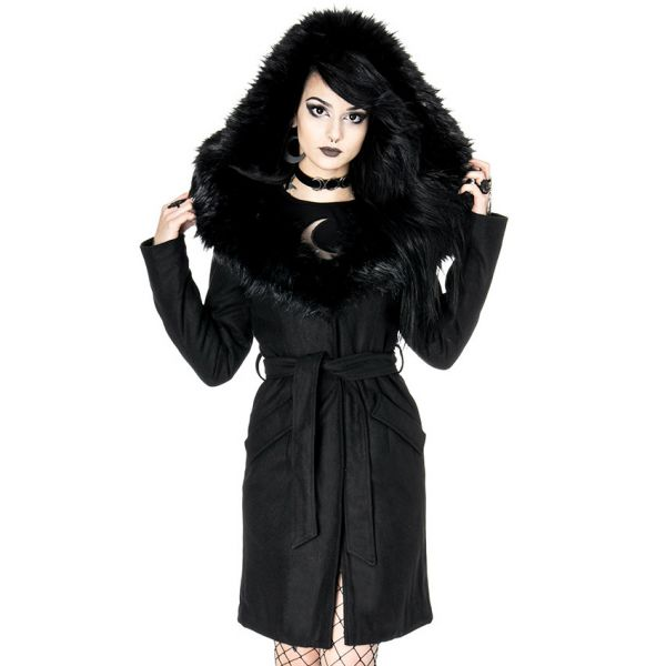 Wintermantel im Trenchcoat Style mit Oversize Kapuze