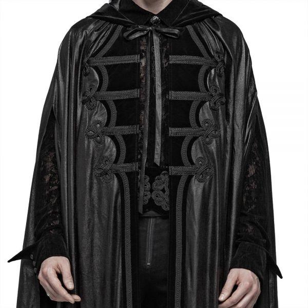 Dark Mystic Kapuzen Cape in Lederoptik mit Samt